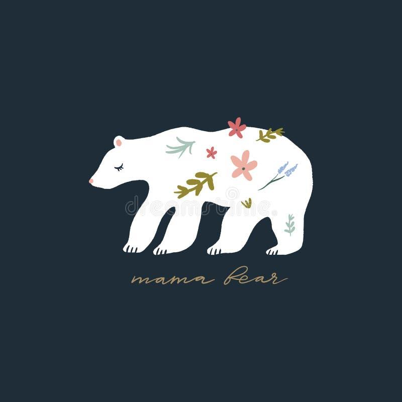 Mama bear nursery vector image, baby art, nursery design stock illustration