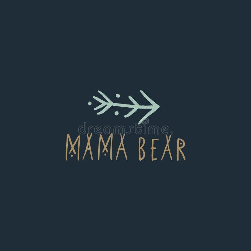 Mama bear nursery vector image, baby art, nursery design vector illustration