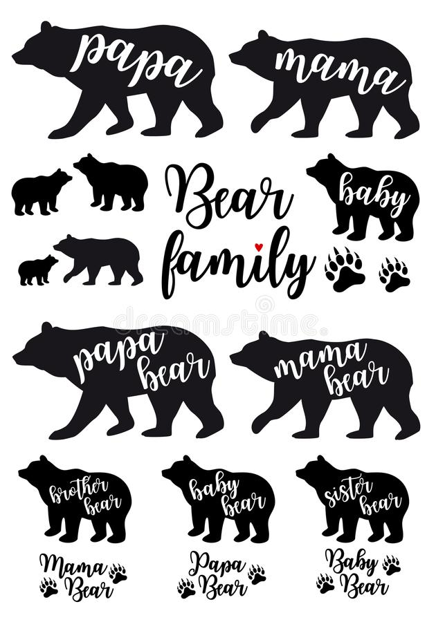 Mama bear, papa bear, baby bear, vector set royalty free illustration