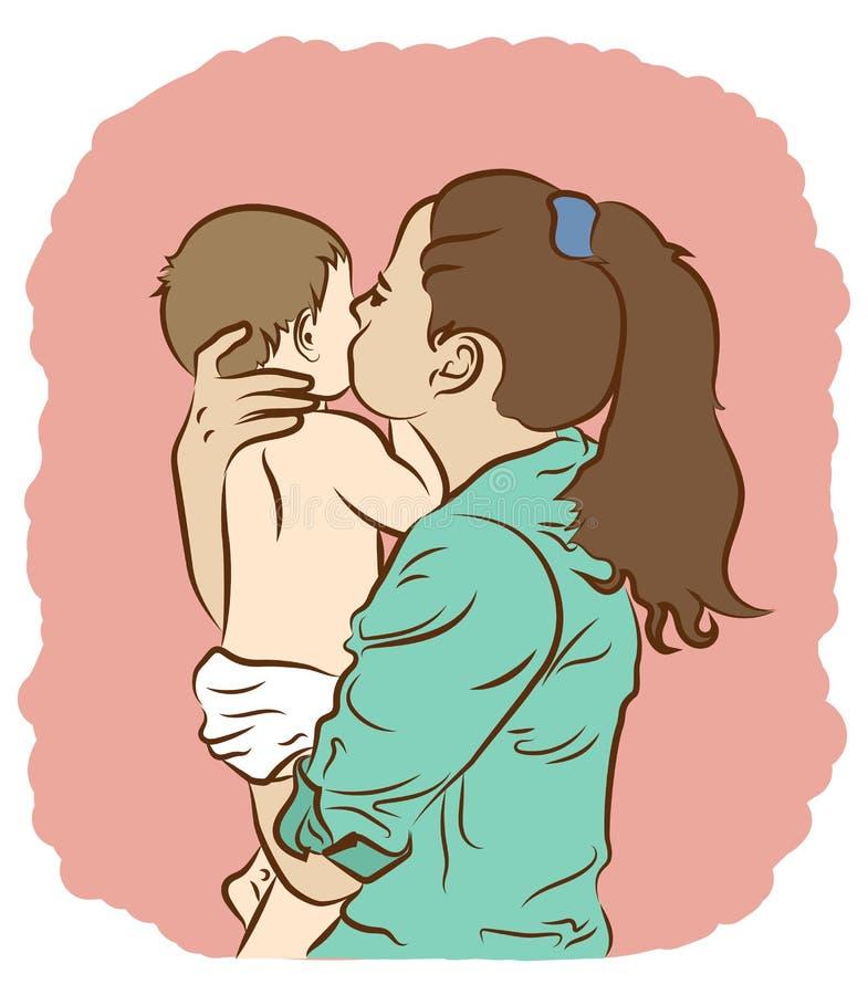 Mama całuje roześmianego dziecka ilustracja wektor