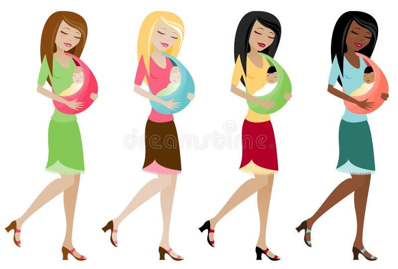 Mama com o bebê no estilingue ilustração stock