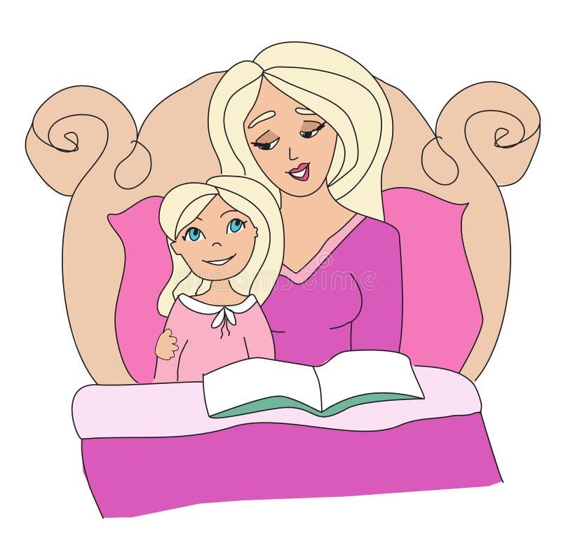 Mama czyta książkę jej dzieciak ilustracji