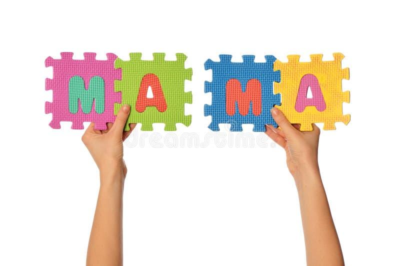 Mama da palavra imagem de stock