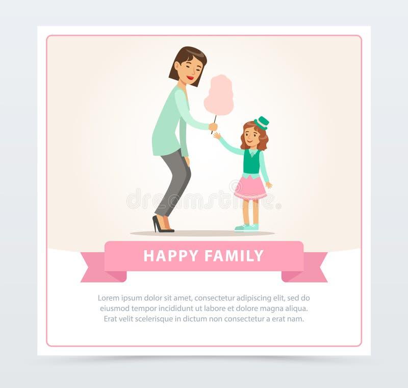 Mama daje bawełnianemu cukierkowi córka, szczęśliwego rodzinnego sztandaru płaski wektorowy element dla strony internetowej lub w ilustracji