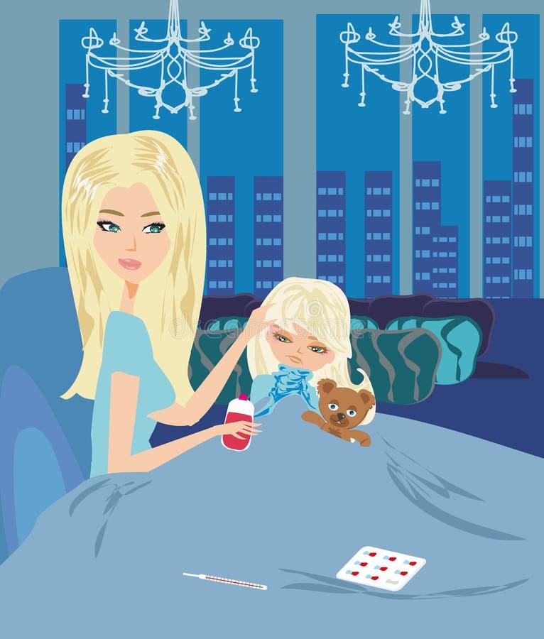 Mama daje ona córki medycynie royalty ilustracja