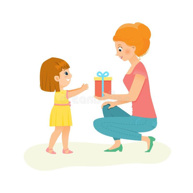 Mama daje prezentowi jej córka ilustracji