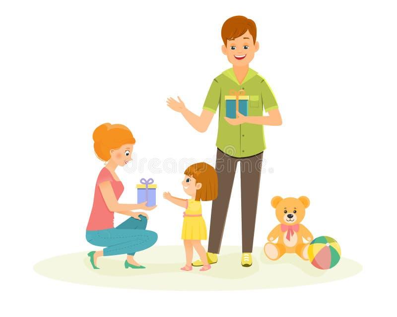 Mama daje prezentowi jej córka royalty ilustracja