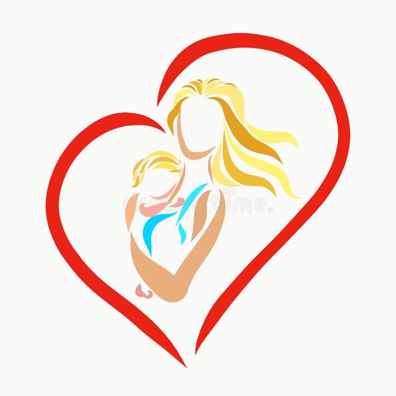 Mama delikatnie ściska dziecka, serce ilustracji