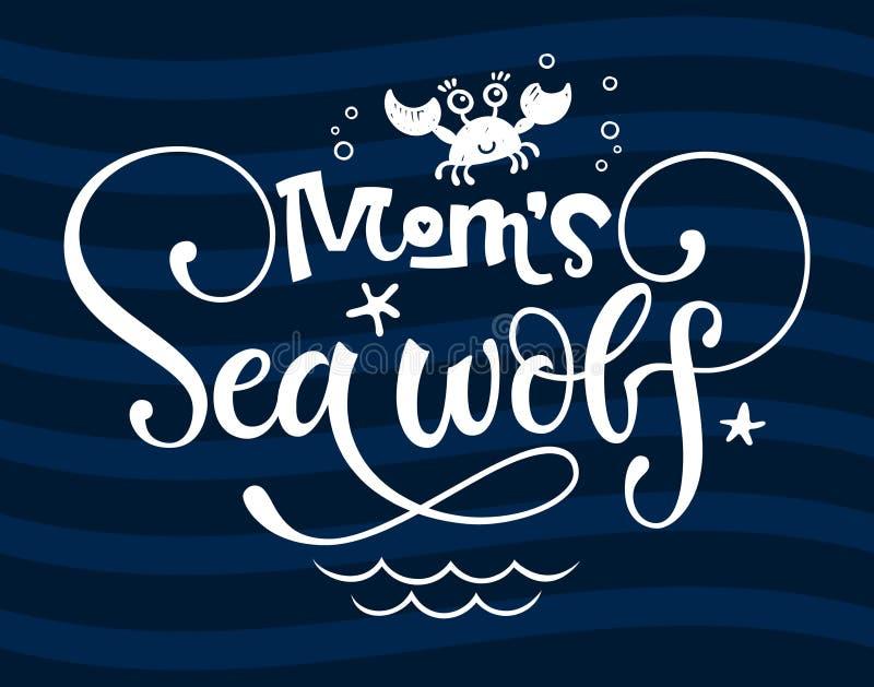 Mama Dennego wilka wycena Prosta biała ręka rysujący koloru dziecka prysznic pisma stylu groteskowego literowania logo wektorowy  ilustracji