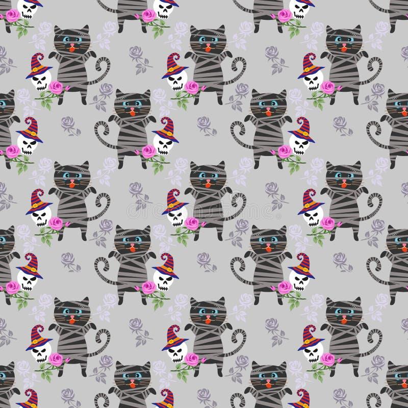 Mama der schwarzen Katze mit dem Schädel und Rosarose lizenzfreie abbildung
