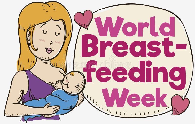 Mama, dziecko, mowa bąbel i serca dla Światowego Breastfeeding tygodnia, Wektorowa ilustracja royalty ilustracja