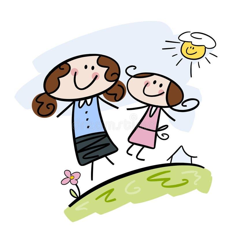 Mama e hija felices stock de ilustración