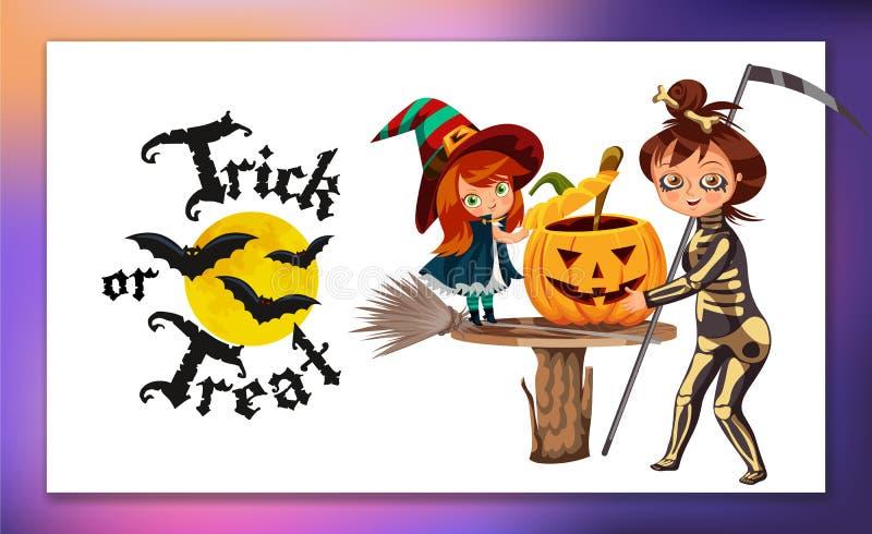 Mama i córka w Halloweenowych kostiumach plakatowych ilustracja wektor