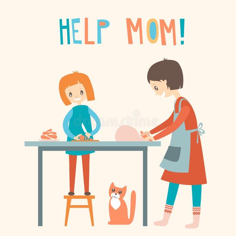 Mama i dauhter gotuje wpólnie Domowa pomoc, wychowanie wektor royalty ilustracja