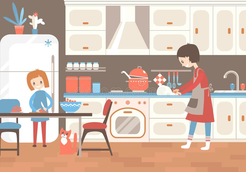 Mama i dauhter gotuje wpólnie w kuchni Domowa pomoc, upbr ilustracja wektor
