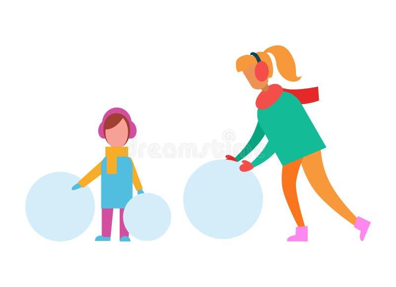 Mama i dziecko Robi bałwanu od Ogromnych Śnieżnych piłek royalty ilustracja