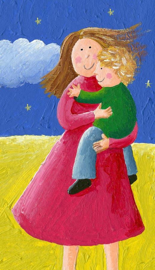 Mama i dziecko w parku ilustracji