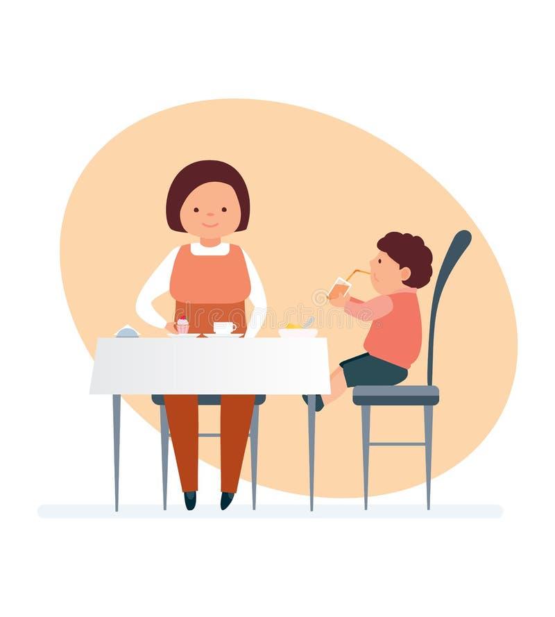 Mama i jej dziecko odwiedzamy restaurację, rozkazujemy smakowitego jedzenie, napoje royalty ilustracja