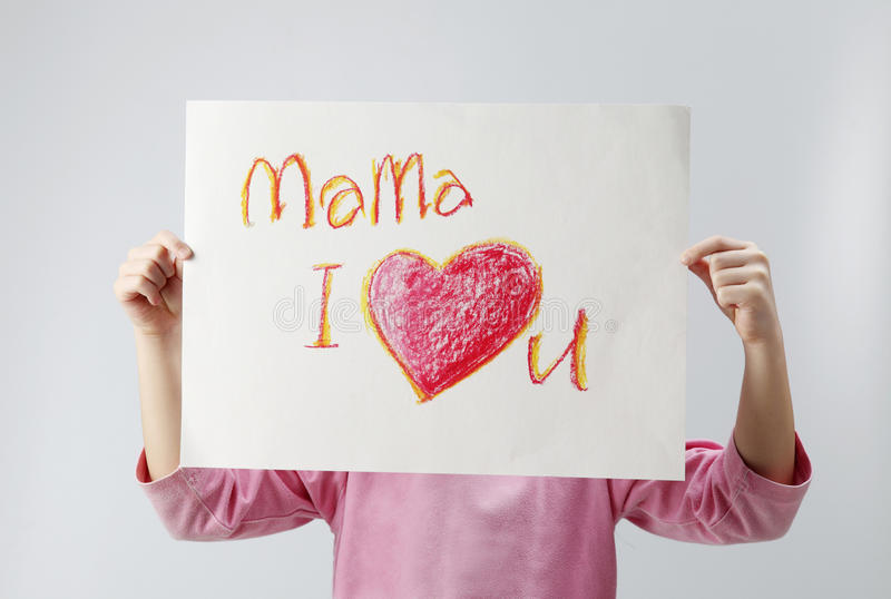 Download Mama, I love you stock photo. Image of cute, sign, beautiful - 18266324