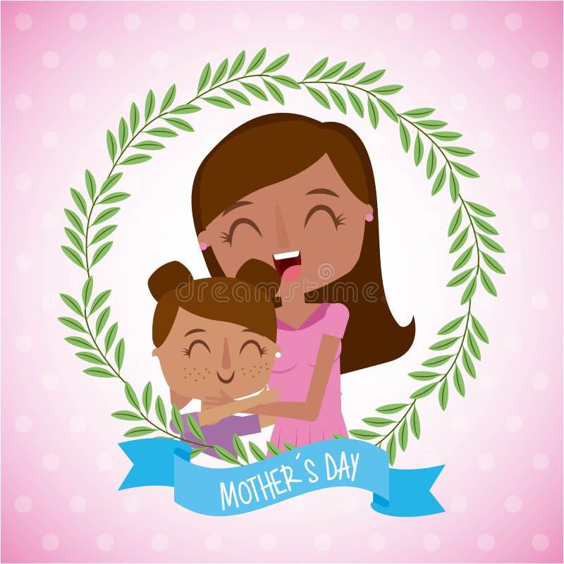 Mama i mała dziewczynka w kwiecistym wianek matek dniu ilustracji