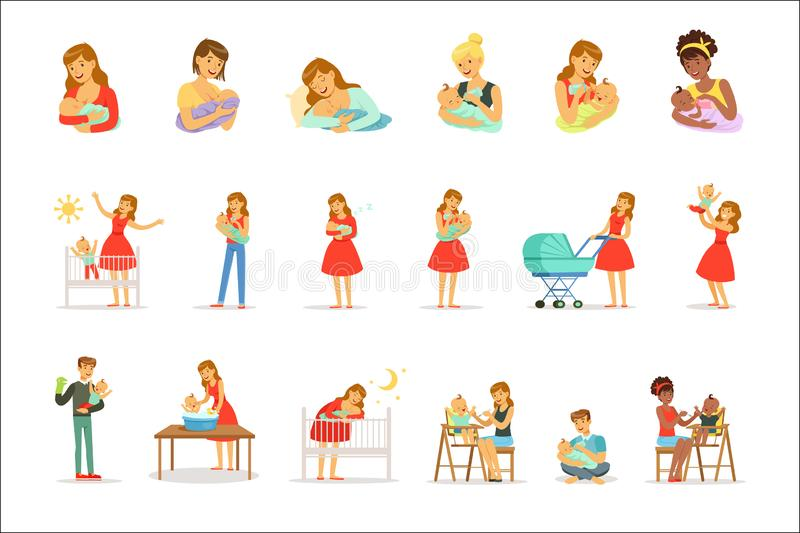 Mama i reklama bierzemy opiek? ich dzieci ustawiaj?cy dla etykietka projekta Kolorowi posta? z kresk?wki ilustracji