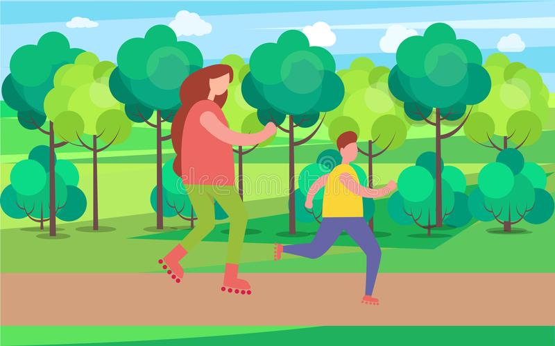 Mama i syn Jeździć na łyżwach Wpólnie Wektorową ilustrację royalty ilustracja
