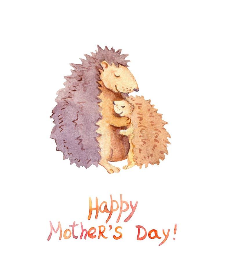 Mama jeż ściska jej małego dziecka Karta dla Macierzystego ` s dnia z zwierzęcą rodziną akwarela ilustracja wektor