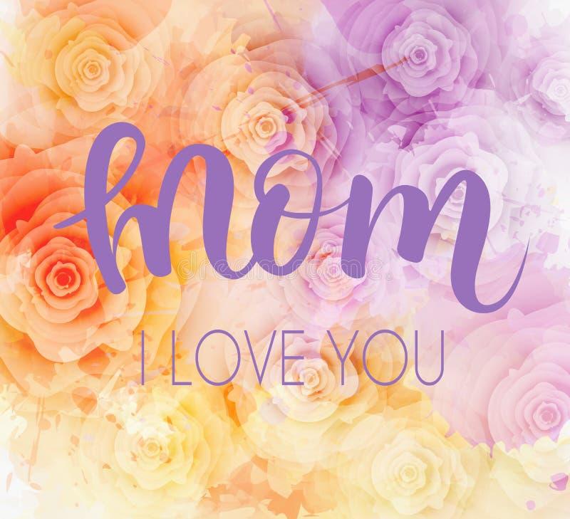 Mama kocham ciebie - Macierzysty ` s dnia kartka z pozdrowieniami ilustracja wektor