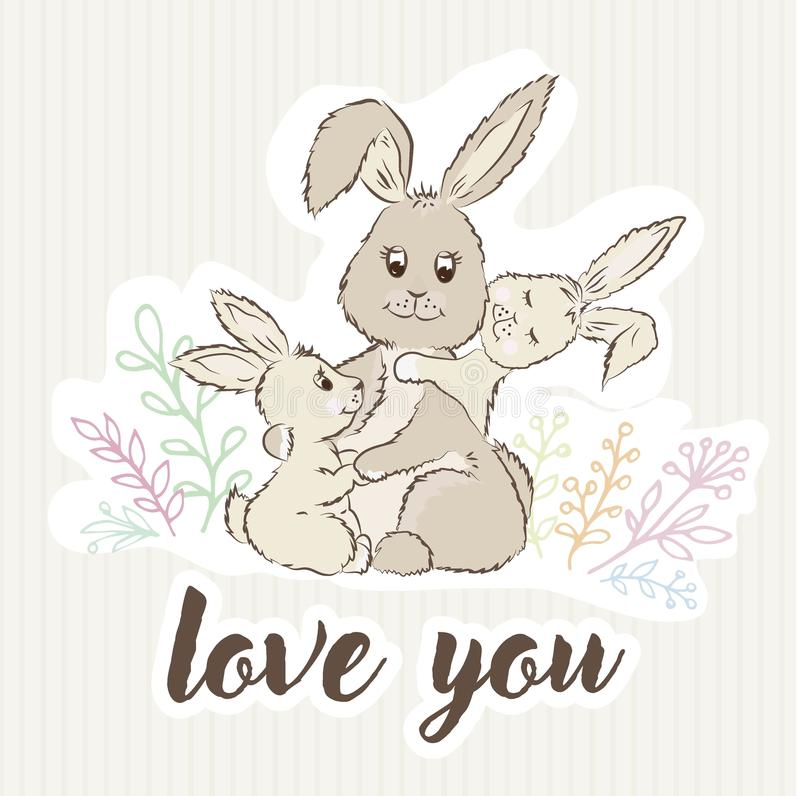 Mama królika uściśnięcia jej dzieci wokoło trawy i teksta miłości i ty ilustracja wektor