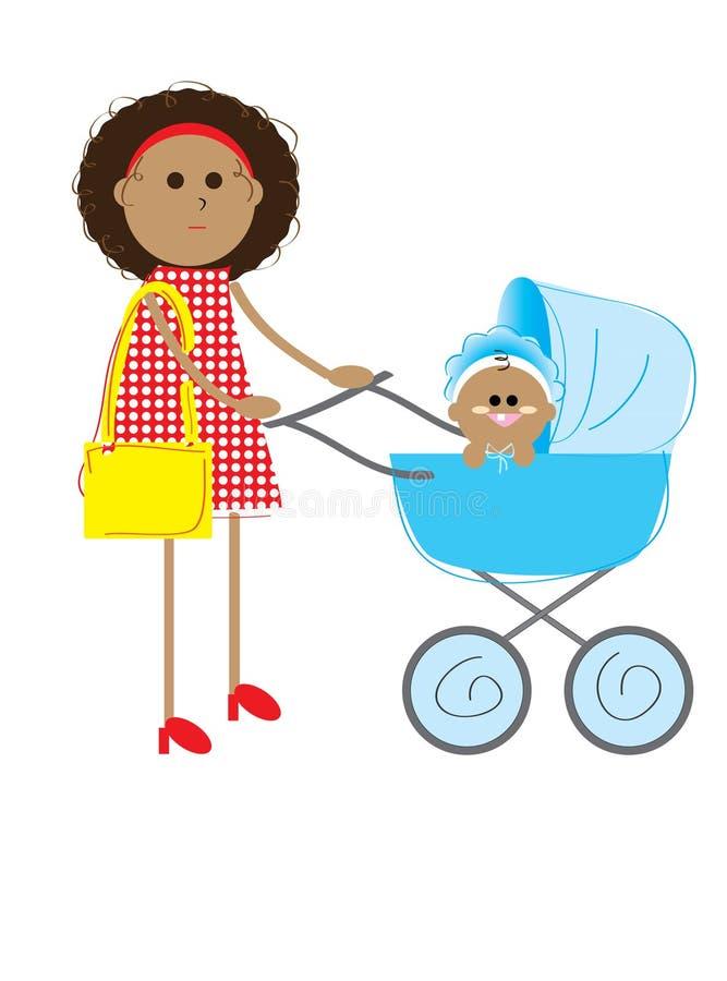 Mama mit dem Kind lizenzfreie abbildung