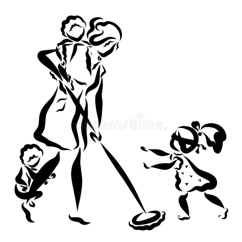 Mama myje podłogi i trzy dzieci sztuki kryjówki, aport, zabawy życie rodzinne - i - royalty ilustracja