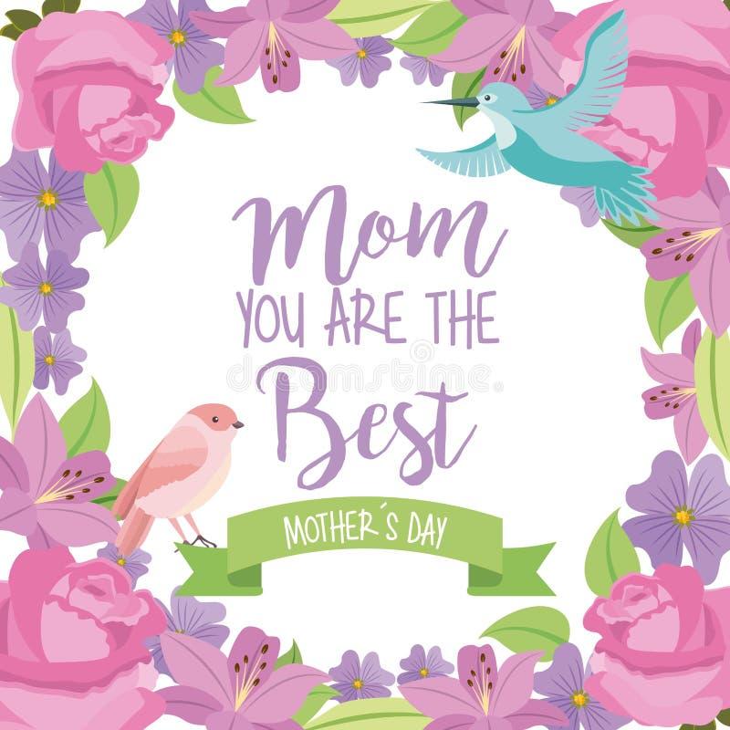 Mama najlepszy matka dnia ptasi tasiemkowi kwiaty obramia dekorację royalty ilustracja