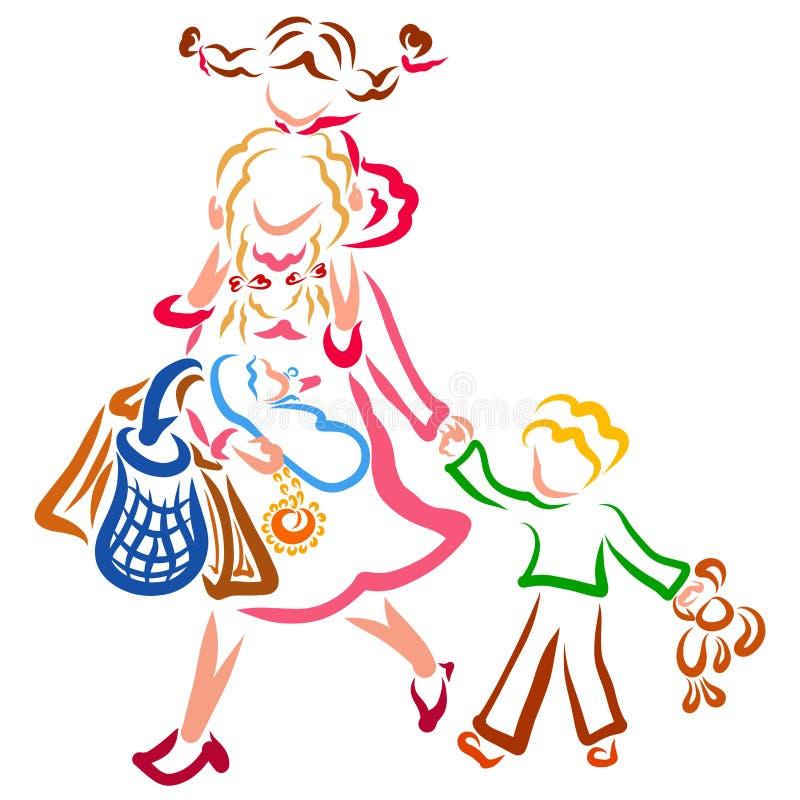 Mama niesie córki na ona i prowadzi jej syna ręką ramiona, dziecko i torby w jej rękach, ilustracji