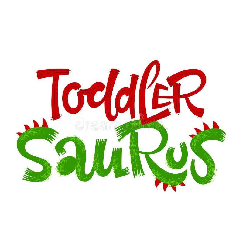 Mama Saurus wycena Zabawa dinosaura stylu literowania wektoru handdrawn logo royalty ilustracja