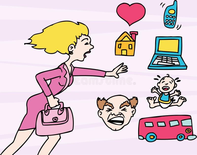 mama stresująca się ilustracji