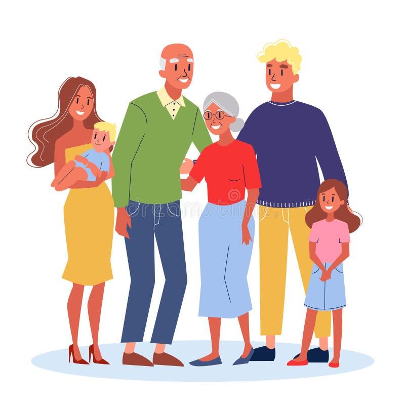 Mama, tata, dzieci i ich dziadkowie, ilustracja wektor