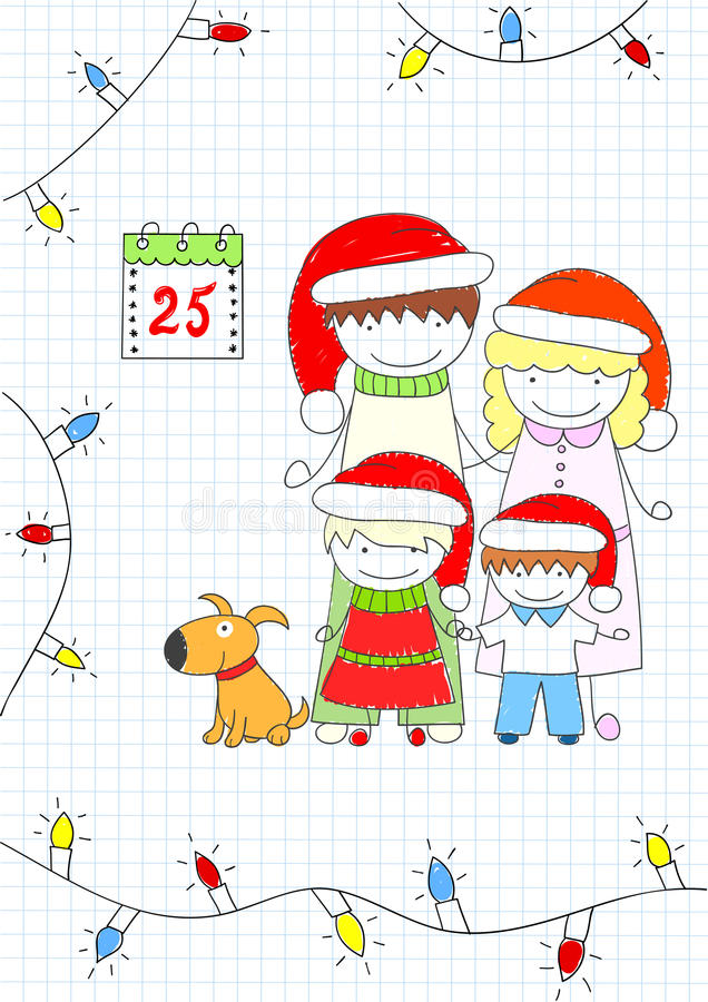 Mama, tata i dwa dziecka, royalty ilustracja