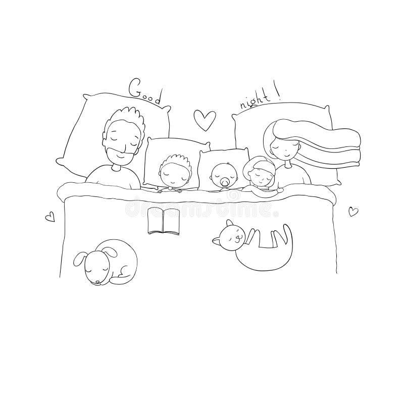 Mama, tata i dzieci, słodki sen ilustracja wektor