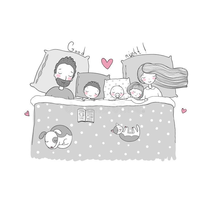 Mama, tata i dzieci, słodki sen royalty ilustracja