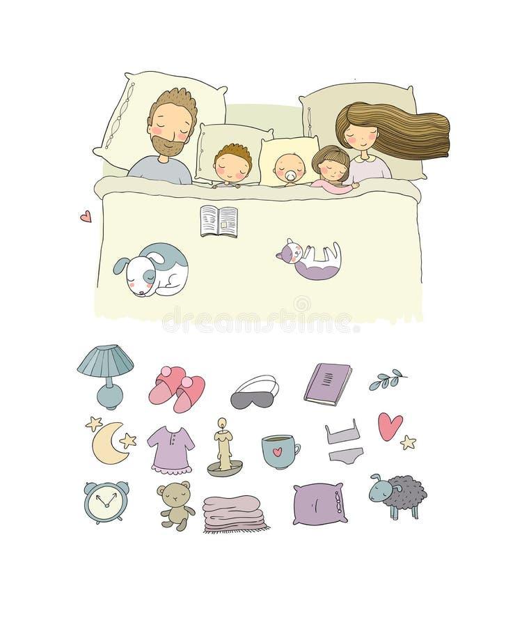 Mama, tata i dzieci, słodki sen Wektorowa ilustracja z ptakami i kwiatami ilustracja wektor