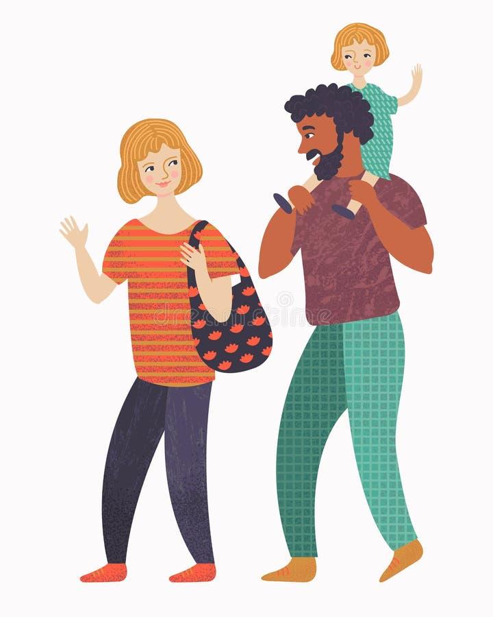 Mama, tata i mała dziewczynka na spacerze, ilustracja wektor