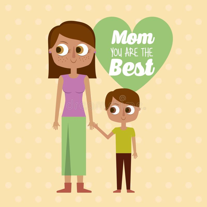 Mama ty jesteś najlepszy kartka z pozdrowieniami synem i matką wpólnie ilustracja wektor