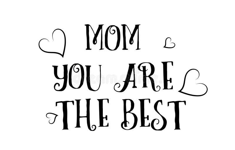 mama ty jesteś najlepszy miłości wycena loga kartka z pozdrowieniami plakatowym projektem royalty ilustracja