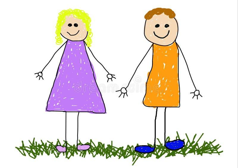Mama y papá stock de ilustración