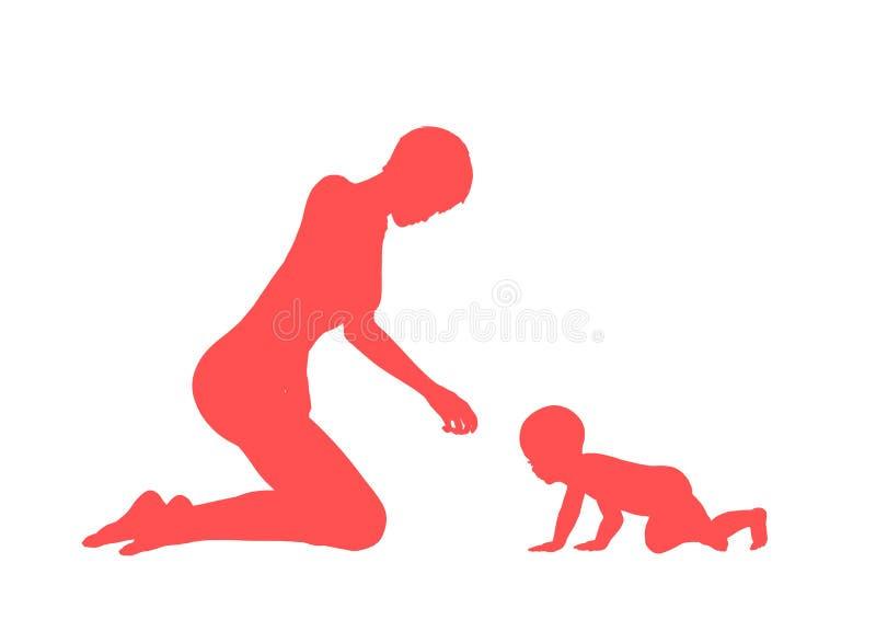 Mama y su niño stock de ilustración