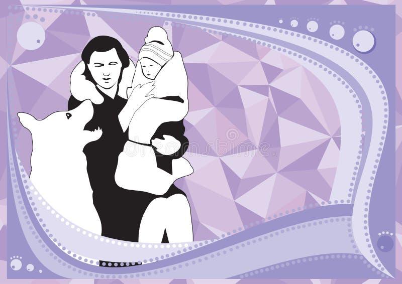 Mama z córką i psem na błękitnym tle royalty ilustracja