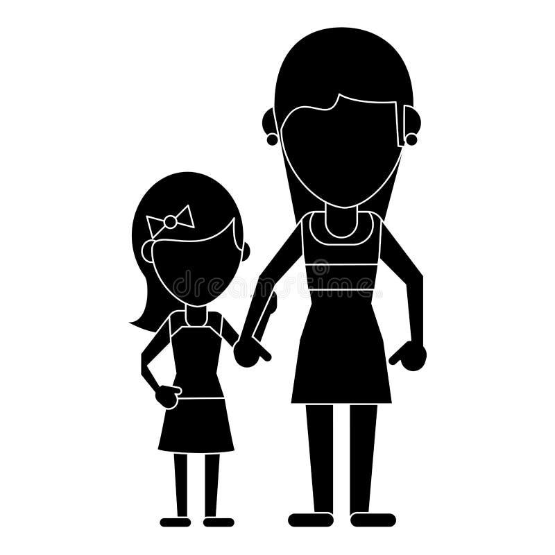 Mama z córka piktogramem royalty ilustracja