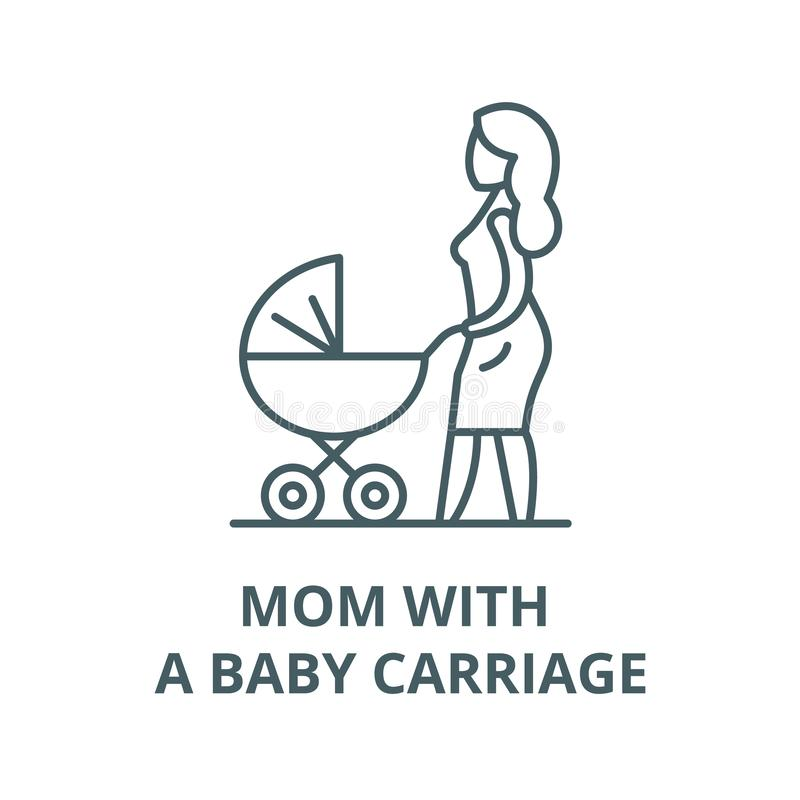 Mama z dziecko frachtu wektoru linii ikoną, liniowy pojęcie, konturu znak, symbol ilustracja wektor