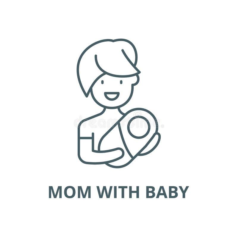 Mama z dziecko wektoru linii ikoną, liniowy pojęcie, konturu znak, symbol royalty ilustracja