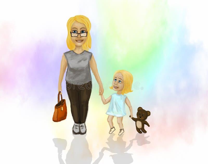 Mama z małą córką royalty ilustracja